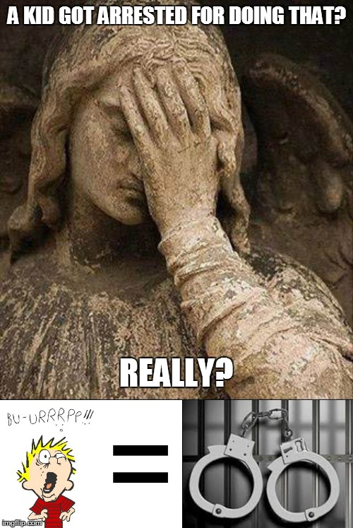 true angel facepalm |  A KID GOT ARRESTED FOR DOING THAT? REALLY? | image tagged in true angel facepalm | made w/ Imgflip meme maker