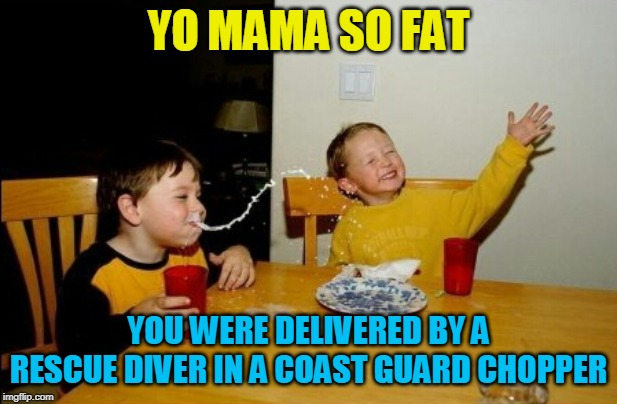 Yo Mamas So Fat |  YO MAMA SO FAT; YOU WERE DELIVERED BY A RESCUE DIVER IN A COAST GUARD CHOPPER | image tagged in memes,yo mamas so fat | made w/ Imgflip meme maker