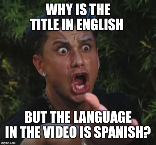 Roses are red/Violets are blue/The title's in English/So why aren't you? | WHY IS THE TITLE IN ENGLISH BUT THE LANGUAGE IN THE VIDEO IS SPANISH? | image tagged in memes,dj pauly d | made w/ Imgflip meme maker