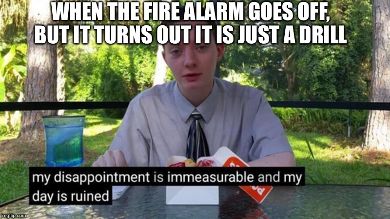 My disappointment is immeasurable |  WHEN THE FIRE ALARM GOES OFF, BUT IT TURNS OUT IT IS JUST A DRILL | image tagged in funny,funny memes,funny meme,too funny,lol so funny | made w/ Imgflip meme maker
