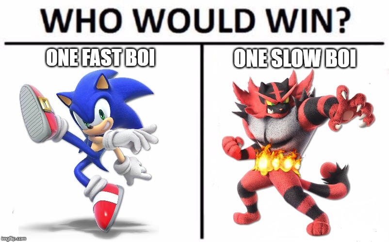 Comment below on the fastest and slowest character battle!  I vote Sonic! | ONE FAST BOI ONE SLOW BOI | image tagged in memes,who would win | made w/ Imgflip meme maker