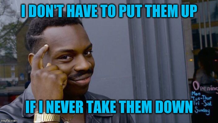 Roll Safe Think About It Meme | I DON'T HAVE TO PUT THEM UP IF I NEVER TAKE THEM DOWN | image tagged in memes,roll safe think about it | made w/ Imgflip meme maker