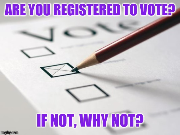 Your vote counts 。◕‿◕。 | ARE YOU REGISTERED TO VOTE? IF NOT, WHY NOT? | image tagged in voting ballot | made w/ Imgflip meme maker
