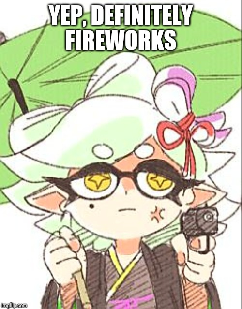 Marie with a gun | YEP, DEFINITELY FIREWORKS | image tagged in marie with a gun | made w/ Imgflip meme maker