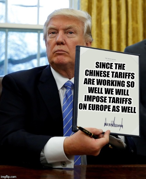 Executive order | SINCE THE CHINESE TARIFFS ARE WORKING SO WELL WE WILL IMPOSE TARIFFS ON EUROPE AS WELL | image tagged in executive order | made w/ Imgflip meme maker