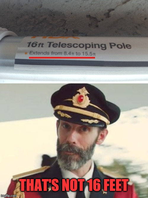 Read the fine print |  THAT'S NOT 16 FEET | image tagged in captain obvious,16ft,pole,fine print,pizza | made w/ Imgflip meme maker