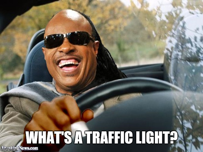 Stevie Wonder Driving | WHAT'S A TRAFFIC LIGHT? | image tagged in stevie wonder driving | made w/ Imgflip meme maker