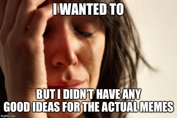 First World Problems Meme | I WANTED TO BUT I DIDN'T HAVE ANY GOOD IDEAS FOR THE ACTUAL MEMES | image tagged in memes,first world problems | made w/ Imgflip meme maker