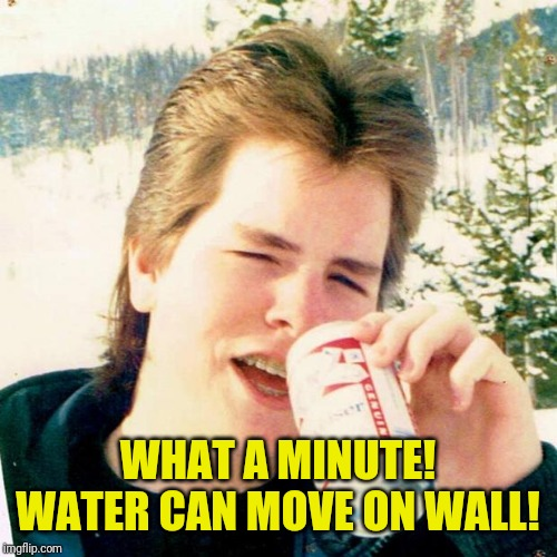 Eighties Teen Meme | WHAT A MINUTE! WATER CAN MOVE ON WALL! | image tagged in memes,eighties teen | made w/ Imgflip meme maker