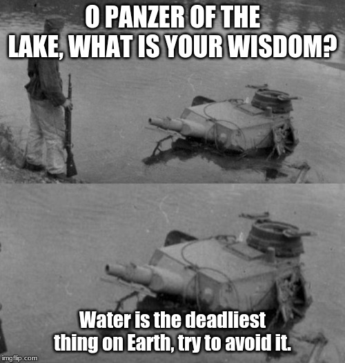 Water Consumes All. | O PANZER OF THE LAKE, WHAT IS YOUR WISDOM? Water is the deadliest thing on Earth, try to avoid it. | image tagged in panzer of the lake,funny,memes,ww2 | made w/ Imgflip meme maker