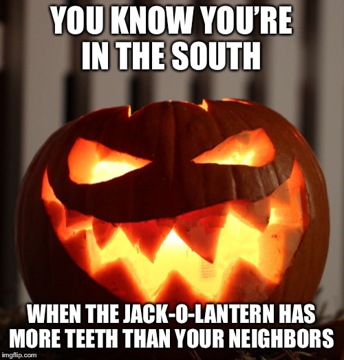 Jack O Lantern | YOU KNOW YOU'RE IN THE SOUTH WHEN THE JACK-O-LANTERN HAS MORE TEETH THAN YOUR NEIGHBORS | image tagged in jack o lantern | made w/ Imgflip meme maker