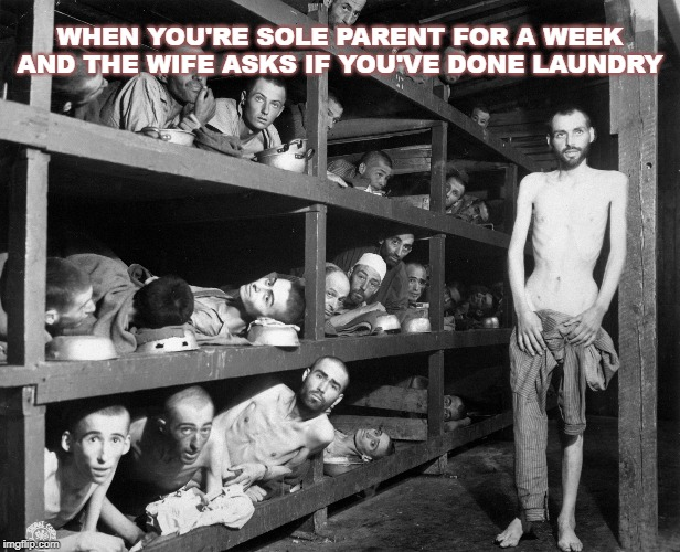 ..... | WHEN YOU'RE SOLE PARENT FOR A WEEK AND THE WIFE ASKS IF YOU'VE DONE LAUNDRY | image tagged in humor,dark humor,wife,kids,laundry | made w/ Imgflip meme maker