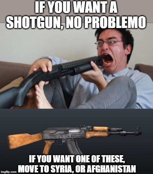 Reagan was right, bring back the assault weapons ban | IF YOU WANT A SHOTGUN, NO PROBLEMO IF YOU WANT ONE OF THESE, MOVE TO SYRIA, OR AFGHANISTAN | image tagged in ak47,filthy frank shotgun,memes,gun control,maga,impeach trump | made w/ Imgflip meme maker