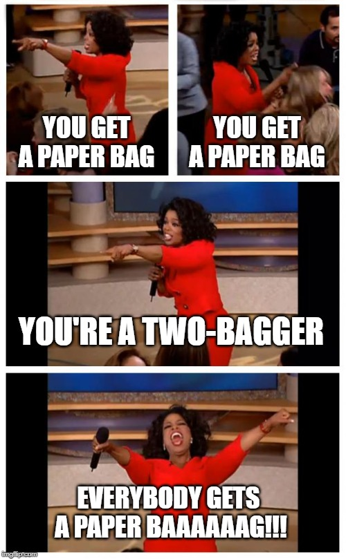 No Makeup | YOU GET A PAPER BAG YOU GET A PAPER BAG YOU'RE A TWO-BAGGER EVERYBODY GETS  A PAPER BAAAAAAG!!! | image tagged in memes,oprah you get a car everybody gets a car,no makeup,two bagger | made w/ Imgflip meme maker