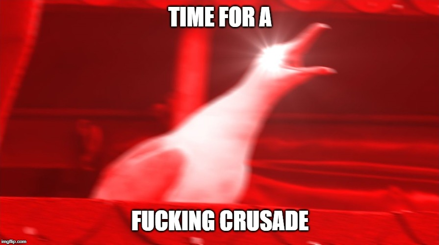 TIME FOR A F**KING CRUSADE | image tagged in angry seagull | made w/ Imgflip meme maker