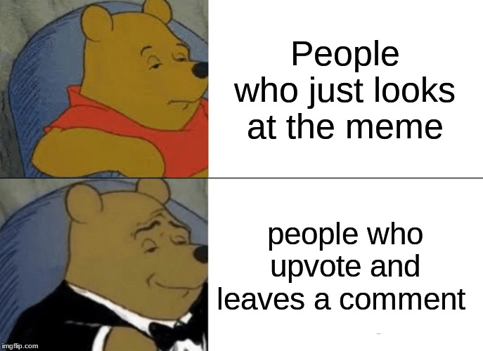 Tuxedo Winnie The Pooh Meme | People who just looks at the meme people who upvote and leaves a comment | image tagged in memes,tuxedo winnie the pooh | made w/ Imgflip meme maker