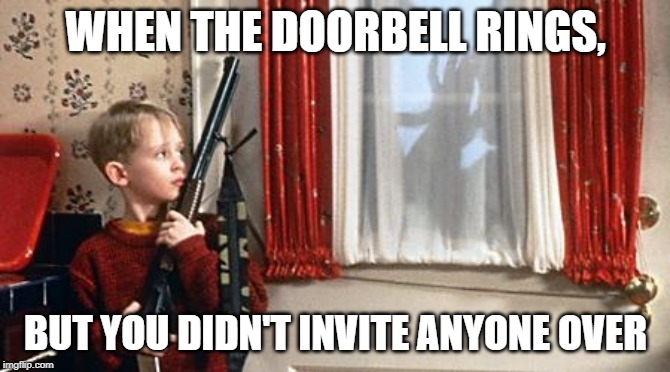 Home alone  | WHEN THE DOORBELL RINGS, BUT YOU DIDN'T INVITE ANYONE OVER | image tagged in home alone | made w/ Imgflip meme maker
