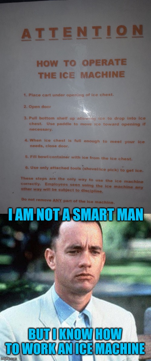 Some people need help | I AM NOT A SMART MAN BUT I KNOW HOW TO WORK AN ICE MACHINE | image tagged in forrest gump,ice machine,smart people,dumb,pie charts | made w/ Imgflip meme maker