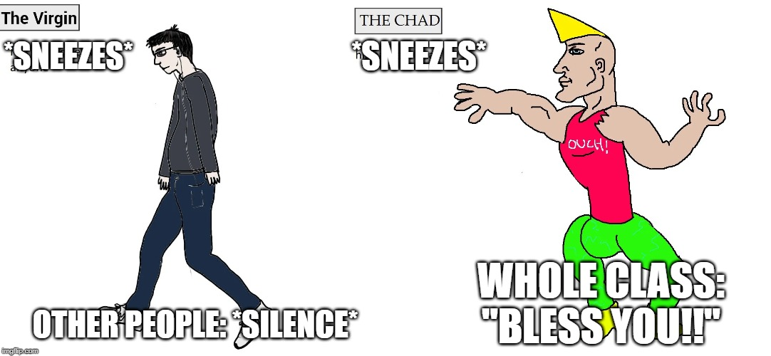 "*SNEEZES*; *SNEEZES*; WHOLE CLASS: ""BLESS YOU!!""; OTHER PEOPLE: *SILENCE* 