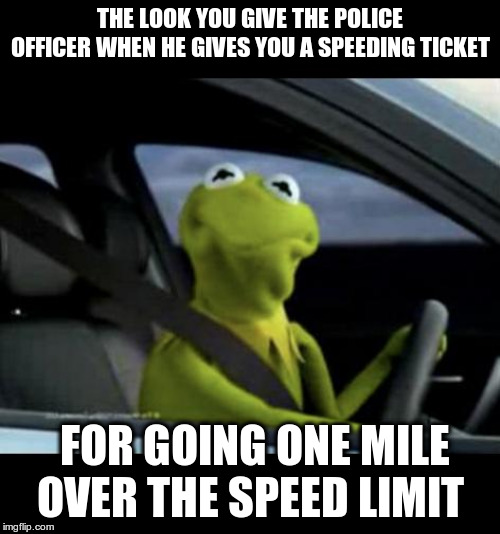 Kermit Driving |  THE LOOK YOU GIVE THE POLICE OFFICER WHEN HE GIVES YOU A SPEEDING TICKET; FOR GOING ONE MILE OVER THE SPEED LIMIT | image tagged in kermit driving | made w/ Imgflip meme maker