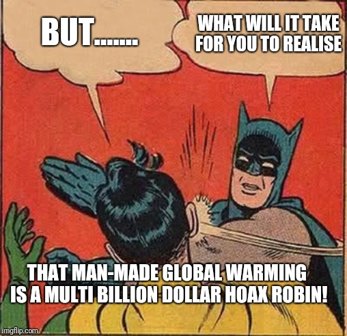 The geatest lie almost ever told |  BUT....... WHAT WILL IT TAKE FOR YOU TO REALISE; THAT MAN-MADE GLOBAL WARMING  IS A MULTI BILLION DOLLAR HOAX ROBIN! | image tagged in global warming hoax,corruption,paid off scientists,lies,manipulation,deception | made w/ Imgflip meme maker