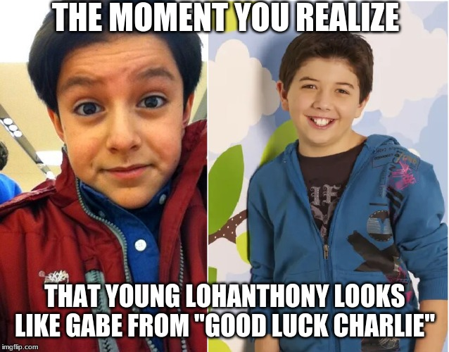 "Hang in there and stay fierce, baby. | THE MOMENT YOU REALIZE THAT YOUNG LOHANTHONY LOOKS LIKE GABE FROM ""GOOD LUCK CHARLIE"" 