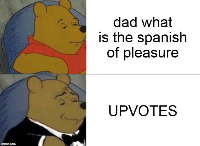 Tuxedo Winnie The Pooh Meme | dad what is the spanish of pleasure UPVOTES | image tagged in memes,tuxedo winnie the pooh | made w/ Imgflip meme maker