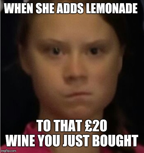 Greta stare | WHEN SHE ADDS LEMONADE TO THAT £20 WINE YOU JUST BOUGHT | image tagged in greta thunberg | made w/ Imgflip meme maker