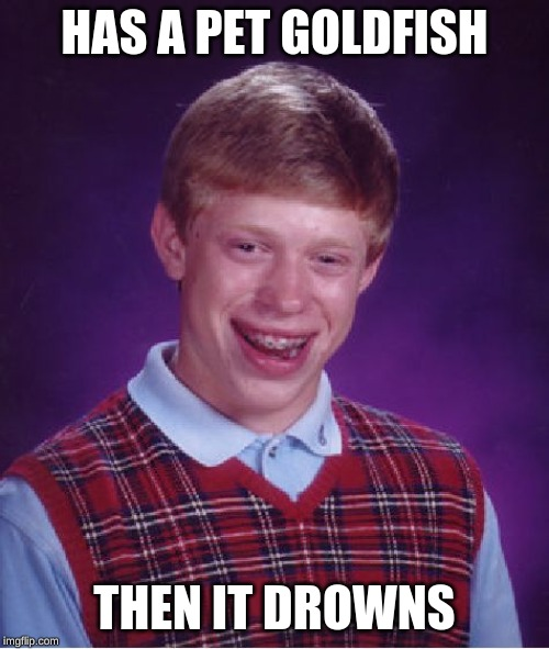 Bad Luck Brian | HAS A PET GOLDFISH THEN IT DROWNS | image tagged in memes,bad luck brian | made w/ Imgflip meme maker