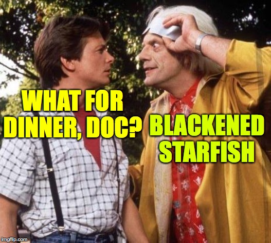 Doc Brown Marty Mcfly | WHAT FOR DINNER, DOC? BLACKENED STARFISH | image tagged in doc brown marty mcfly | made w/ Imgflip meme maker