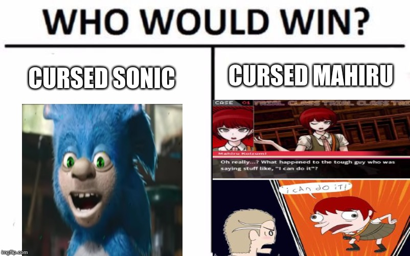 Who Would Win? | CURSED SONIC CURSED MAHIRU | image tagged in memes,who would win | made w/ Imgflip meme maker