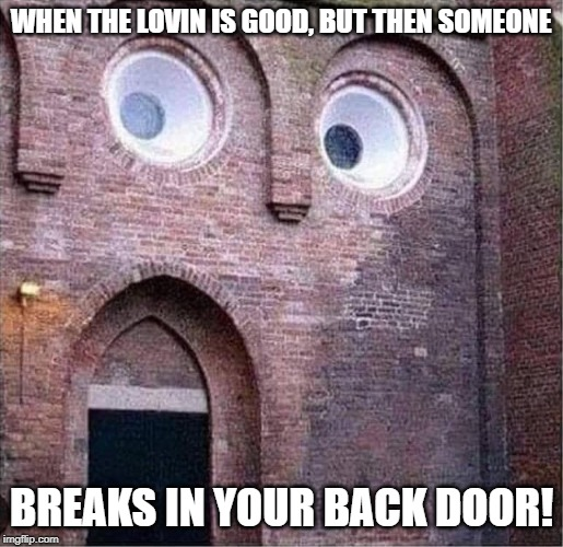 Remember that time it slipped? | WHEN THE LOVIN IS GOOD, BUT THEN SOMEONE BREAKS IN YOUR BACK DOOR! | image tagged in funny,funny memes | made w/ Imgflip meme maker