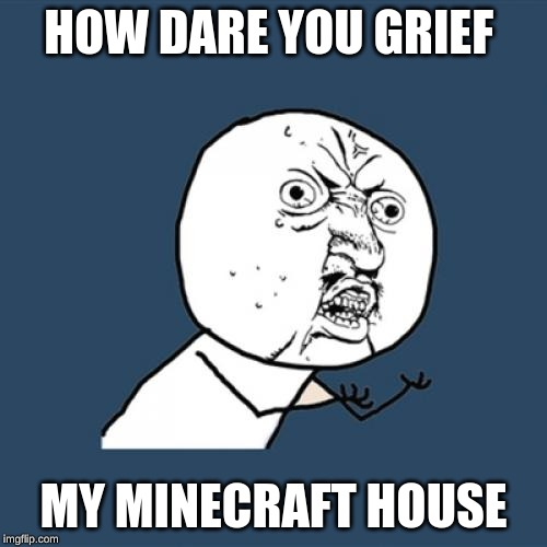 Y U No Meme | HOW DARE YOU GRIEF MY MINECRAFT HOUSE | image tagged in memes,y u no | made w/ Imgflip meme maker
