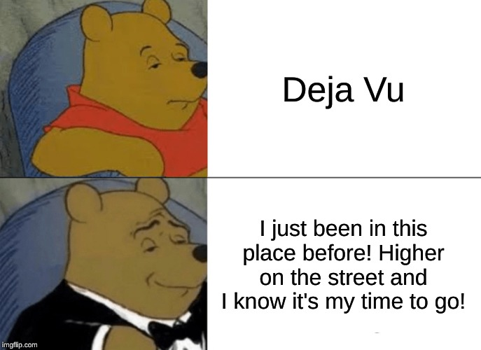 Tuxedo Winnie The Pooh Meme | Deja Vu I just been in this place before! Higher on the street and I know it's my time to go! | image tagged in memes,tuxedo winnie the pooh | made w/ Imgflip meme maker