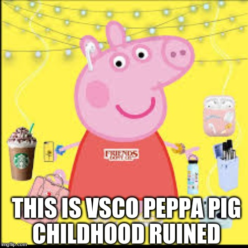 Vsco pig | THIS IS VSCO PEPPA PIG CHILDHOOD RUINED | image tagged in vsco,peppa pig | made w/ Imgflip meme maker