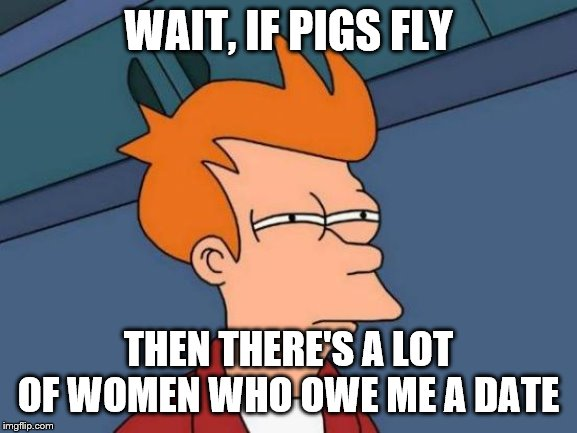Futurama Fry Meme | WAIT, IF PIGS FLY THEN THERE'S A LOT OF WOMEN WHO OWE ME A DATE | image tagged in memes,futurama fry | made w/ Imgflip meme maker