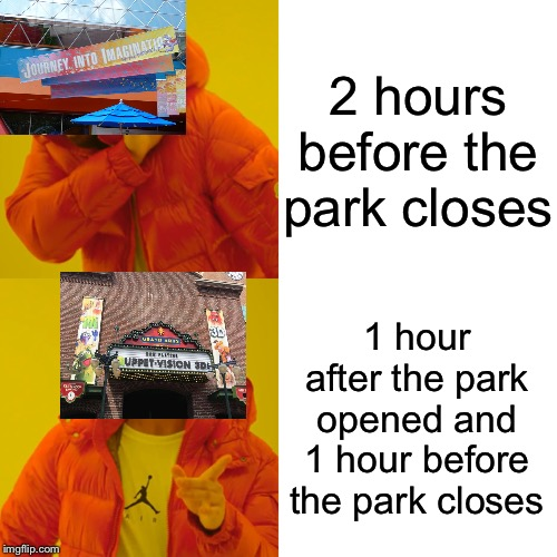 Drake Hotline Bling | 2 hours before the park closes 1 hour after the park opened and 1 hour before the park closes | image tagged in memes,drake hotline bling,disney world,muppets,figment,funny | made w/ Imgflip meme maker