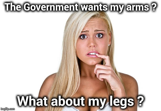She has the right to bare arms and anything else | The Government wants my arms ? What about my legs ? | image tagged in dumb blonde,laughter,medicine,i don't always,and at this point i am to afraid to ask | made w/ Imgflip meme maker