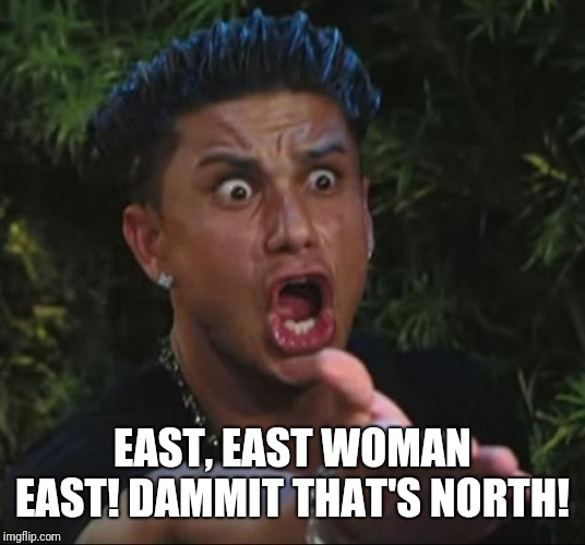 DJ Pauly D Meme | EAST, EAST WOMAN EAST! DAMMIT THAT'S NORTH! | image tagged in memes,dj pauly d | made w/ Imgflip meme maker