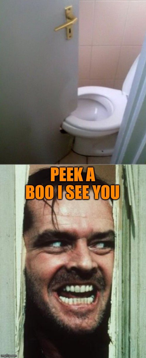 Right when you sit down... | PEEK A BOO I SEE YOU | image tagged in memes,construction fails,44colt,heres johnny,bathroom,peek-a-boo | made w/ Imgflip meme maker