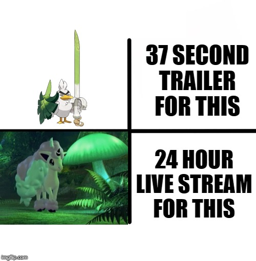 Pokemon Priorities |  37 SECOND TRAILER FOR THIS; 24 HOUR LIVE STREAM FOR THIS | image tagged in memes,blank starter pack,pokemon,pokemon sword and shield | made w/ Imgflip meme maker