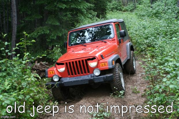 Jeep Wrangler TJ | old jeep is not impressed | image tagged in jeep wrangler tj | made w/ Imgflip meme maker