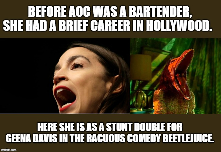 BEFORE AOC WAS A BARTENDER, SHE HAD A BRIEF CAREER IN HOLLYWOOD. HERE SHE IS AS A STUNT DOUBLE FOR GEENA DAVIS IN THE RACUOUS COMEDY BEETLEJ | image tagged in aoc_gaping_maw | made w/ Imgflip meme maker