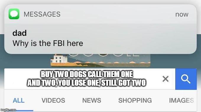 Two dogs | BUY TWO DOGS CALL THEM ONE AND TWO, YOU LOSE ONE, STILL GOT TWO | image tagged in why is the fbi here,memes,meme,funny memes,funny meme,dank memes | made w/ Imgflip meme maker
