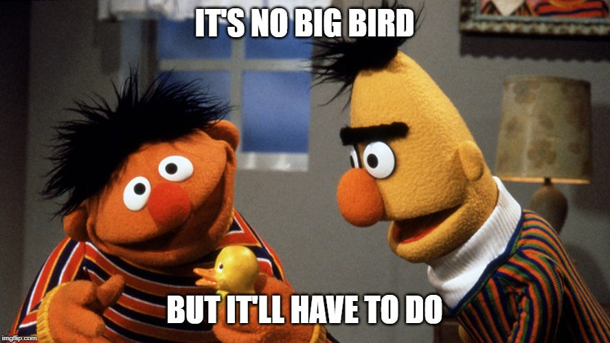 Ernie and Bert discuss Rubber Duckie | IT'S NO BIG BIRD BUT IT'LL HAVE TO DO | image tagged in ernie and bert discuss rubber duckie | made w/ Imgflip meme maker