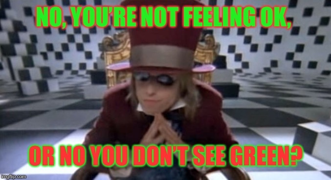 NO, YOU'RE NOT FEELING OK, OR NO YOU DON'T SEE GREEN? | made w/ Imgflip meme maker