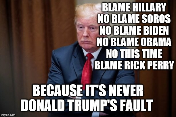 Man Baby Trump |  BLAME HILLARY NO BLAME SOROS NO BLAME BIDEN NO BLAME OBAMA NO THIS TIME BLAME RICK PERRY; BECAUSE IT'S NEVER DONALD TRUMP'S FAULT | image tagged in man baby trump | made w/ Imgflip meme maker