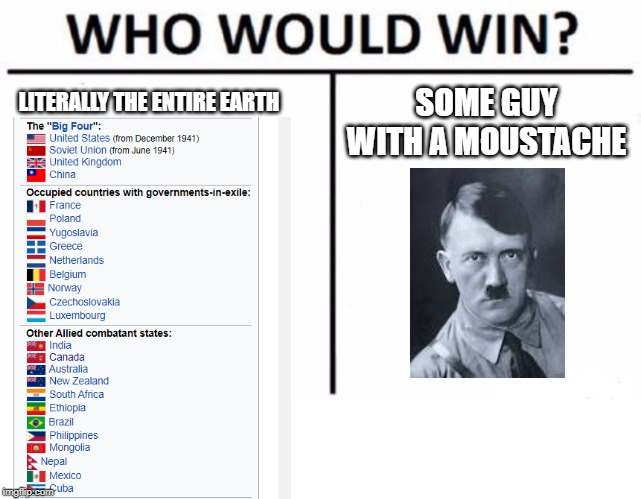 Who Would Win? | LITERALLY THE ENTIRE EARTH SOME GUY WITH A MOUSTACHE | image tagged in memes,who would win,ww2,hitler,historical meme | made w/ Imgflip meme maker