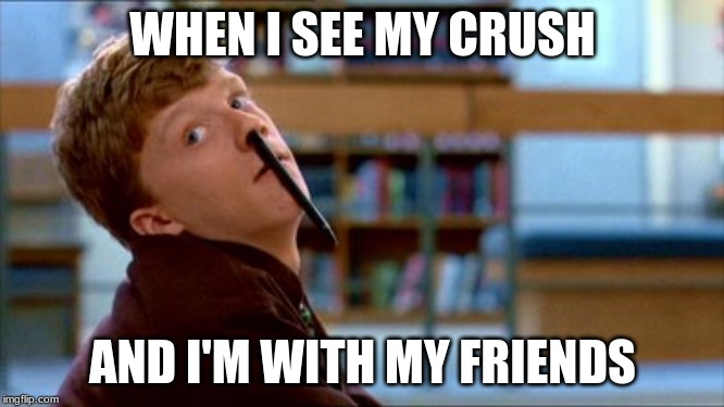 Original Bad Luck Brian | WHEN I SEE MY CRUSH AND I'M WITH MY FRIENDS | image tagged in memes,original bad luck brian | made w/ Imgflip meme maker