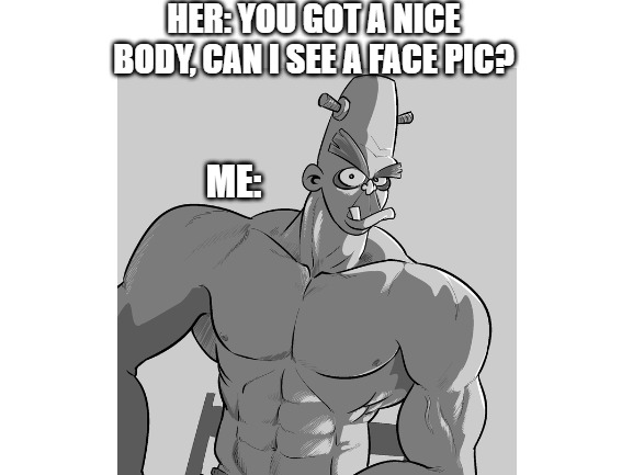 I'm not the best looking... | HER: YOU GOT A NICE BODY, CAN I SEE A FACE PIC? ME: | image tagged in funny,face pics,memes,workout,muscles,funny memes | made w/ Imgflip meme maker